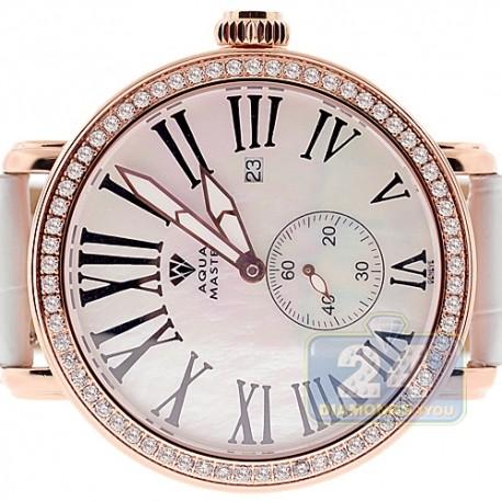 Mens Diamond Rose Watch Aqua Master Round Automatic 2.25 ct