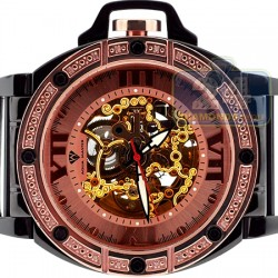 Aqua Master Automatic Skeleton 0.24 ct Diamond Mens Rose Watch