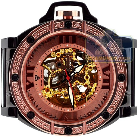 Aqua Master Automatic Skeleton 0.24 ct Diamond Mens Rose Watch