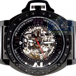 Aqua Master Automatic Skeleton 0.24 ct Diamond Mens Black Watch