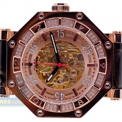 Aqua Master Automatic Skeleton 1.00 ct Diamond Mens Rose Watch