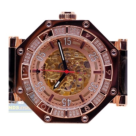 Aqua Master Automatic Skeleton 1.00 ct Diamond Mens Rose Watch