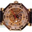 Aqua Master Automatic Skeleton 1.00 ct Diamond Mens Yellow Watch