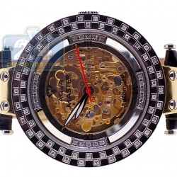 Aqua Master Automatic Skeleton 1.25 ct Diamond Mens Gold Tone Watch