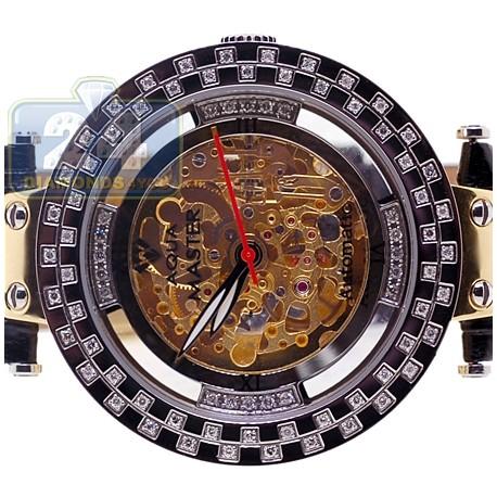 Aqua Master Automatic Skeleton 1.25 ct Diamond Mens Gold Tone Watch