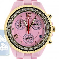 Aqua Master Pink Ceramic 1.25 ct Diamond Womens Gold Tone Watch