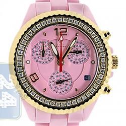 Aqua Master Pink Ceramic 1.25 ct Diamond Womens Gold Tone Watch