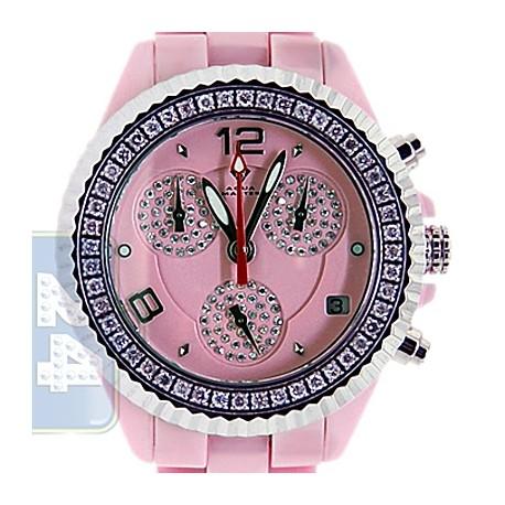 Aqua Master Pink Ceramic 1.25 ct Pave Diamond Womens Watch