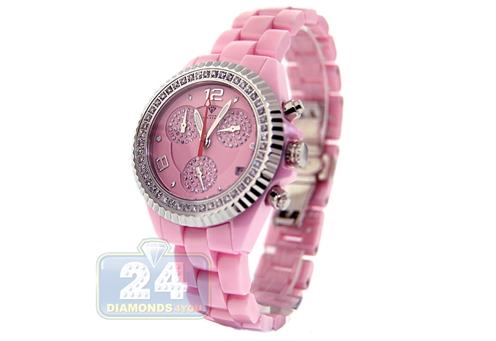 25d41894b Aqua Master Pink Ceramic 1.25 ct Pave Diamond Womens Watch. Move your mouse  over image or click to enlarge. Previous. Next