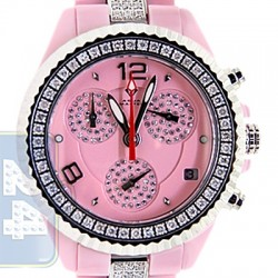 Aqua Master Pink Ceramic 3.00 ct Diamond Womens Mini Watch