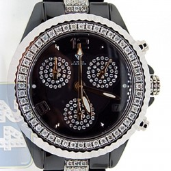 Aqua Master Black Ceramic 3.00 ct Diamond Womens Mini Watch