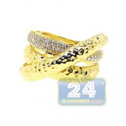14K Yellow Gold 0.30 ct Diamond Womens Triple Band Ring
