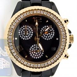 ed0dc0913 Aqua Master Black Ceramic 1.25 ct Diamond Womens Gold Tone Watch