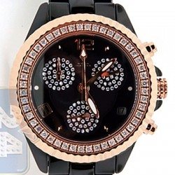 Aqua Master Black Ceramic 1.25 ct Diamond Womens Rose Tone Watch