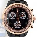 Aqua Master Black Ceramic 1.25 ct Diamond Womens Rose Tone Watch