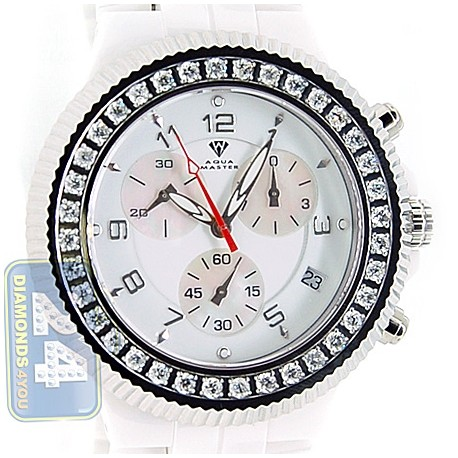 Aqua Master White Ceramic 2.85 ct Diamond Mens Watch