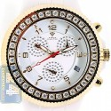 Aqua Master White Ceramic 2.85 ct Diamond Mens Yellow Gold Watch