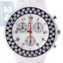 Aqua Master White Ceramic 1.25 ct Diamond Womens Watch