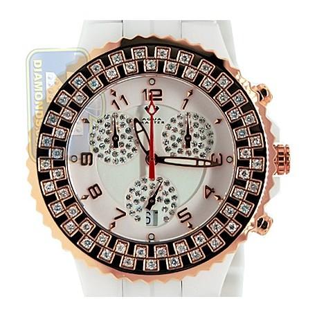 Aqua Master Ceramic 1.25 ct Diamond Womens Rose Gold Steel Watch