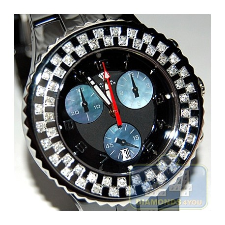 Aqua Master Black Ceramic 1.25 ct Diamond Womens Watch