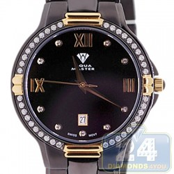 Aqua Master Round 1.00 ct Diamond Mens Black PVD Yellow Gold Watch