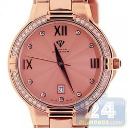 Aqua Master Classics Round 1.00 ct Diamond Mens Rose Steel Watch