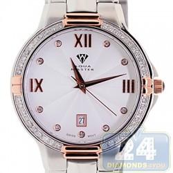 Aqua Master Round 1.00 ct Diamond Mens Rose Tone Steel Watch