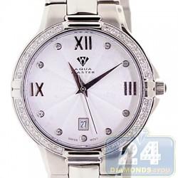 Aqua Master Classics Round 1.00 ct Diamond Mens Silver Dial Steel Watch