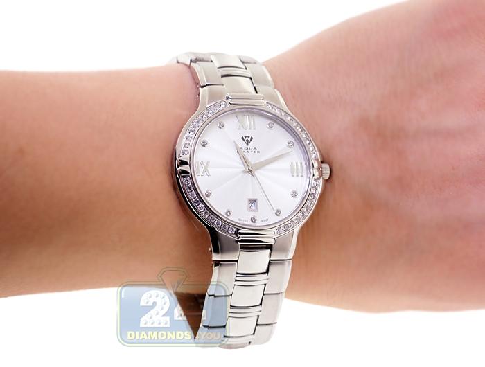 Aqua master classics round 1 ct diamond mens silver dial steel watch for Aqua marine watches