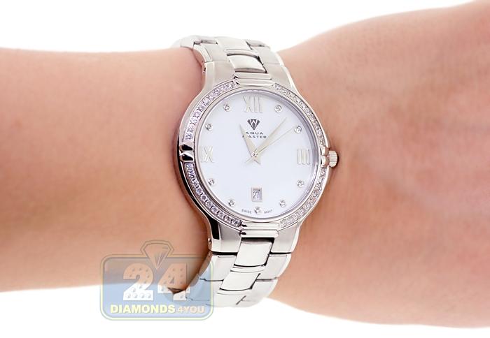 Aqua master round 1 ct diamond mens steel bracelet silver dial watch for Aqua marine watches