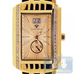Aqua Master Classics Square 1.50 ct Diamond Mens Yellow Watch
