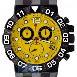 Aqua Master Black PVD Sport Chrono 0.24 ct Diamond Mens Yellow Watch
