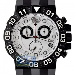 Aqua Master Black PVD Sport Chrono 0.24 ct Diamond Mens White Dial Watch