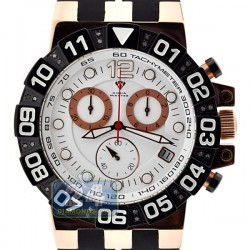 Aqua Master Rose Gold Sport Chrono 0.24 ct Diamond Mens White Dial Watch