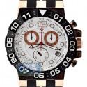 Aqua Master Rose Gold Sport Chrono 0.24 ct Diamond Mens White Dial Watch
