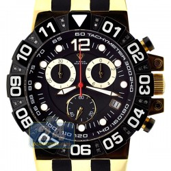 Aqua Master Sport Chrono Yellow Gold Plated 0.24 ct Diamond Mens Black Watch