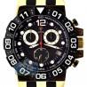 Aqua Master Sport Chrono Yellow Gold Plated 0.24 ct Diamond Mens Black Watch