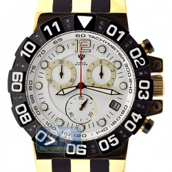 Aqua Master Gold Sport Chrono 0.24 ct Diamond Mens White Dial Watch