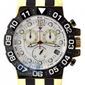 Aqua Master Gold Sport Chrono 0.24 ct Diamond Mens White Dial Watch