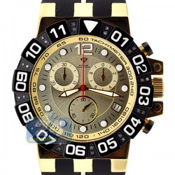 Aqua Master Sport 0.24 ct Diamond Mens Yellow Dial Watch Black PVD Case