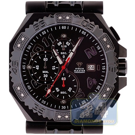Aqua Master Octagon 0.12 ct Diamond Mens Black PVD Bracelet Watch