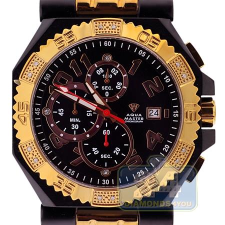 Aqua master octagon ct diamond yellow gold mens black pvd watch for Aqua marine watches