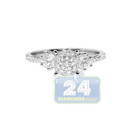 14K White Gold 0.81 ct Diamond Multistone Engagement Ring