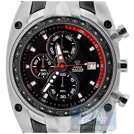 Aqua master chronograph diamond mens black steel red tone dial watch for Aqua marine watches