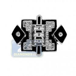Black PVD 14K Gold 0.69 ct Diamond Mens Signet Ring