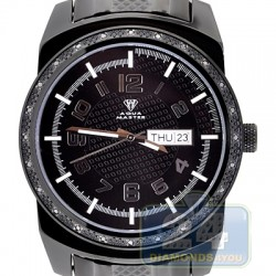 Aqua Master Day Date 0.12 ct Diamond Mens Black Watch