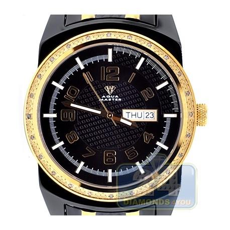 Aqua Master Day Date 0.12 ct Diamond Mens Two Tone Watch