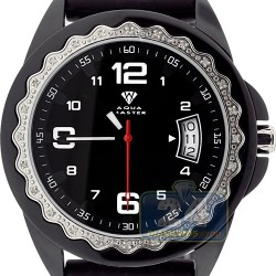 Aqua Master Black Rubber Diamond Womens PVD Watch