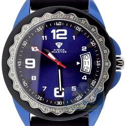 Aqua Master Black Rubber Diamond Womens Blue Watch
