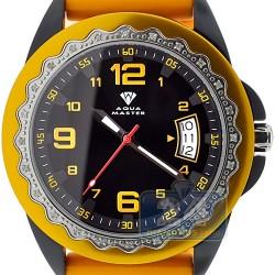 Aqua Master Orange Rubber Diamond Womens Black Watch